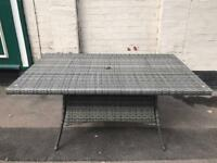 Large Grey Rattan Garden Table