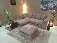 *** 1 YEAR WARRANTY*** BRAND NEW DYLAN JUMBO CORD CORNER SOFA ON SPECIAL OFFER