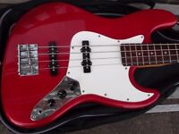 Fender Jazz bass guitar copy by Aria with case
