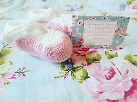 Handmade 0-3 Months pink and white baby shoes