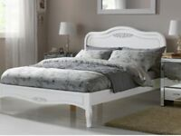 New Kingsize Ivory Bed Frame with Memory Foam Mattress