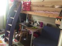 Girls High Sleeper Loft Bed Bunk Desk Futon