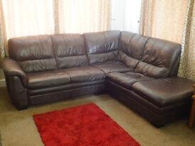 DFS Brown Leather Corner Sofa