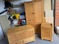 Bedroom furniture - wardrobe, bedside table and toy chest