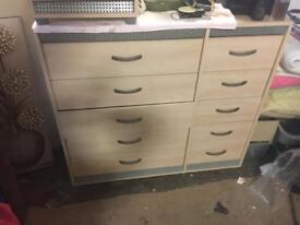 Chest of drawers and bed side