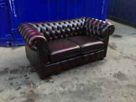 🔥🎉 immaculate chesterfield 2 seater antique leather oxblood sofa
