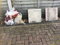 Rubble and a few old paving slabs