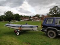 GRP hull and deck Enterprise Sailing dinghy with road trailer and everything to start sailing today