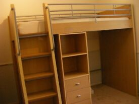 High Sleeper with desk, wardrobe and drawers built in.