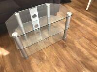 Glass/Silver Corner TV Unit Stand