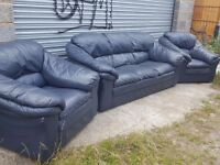 Cute blue leather 3 piece sofa suite. 3 seater sofa and 2 armchairs. Can deliver