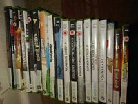 Xbox 360, kinect, 3 controllers, 2 guitars and 17 games