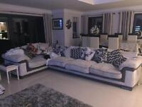 Huge barker and stone house cream and brown leather l shaped sofa with 360 spin chair and pouffe