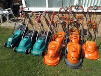Electric Lawn Mowers For Sale,Flymo, Qualcast, Bosch, cleaned and serviced
