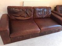 Brown Leather 2 Seater Sofa And Single Chair