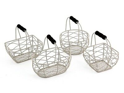 SMALL WIRE BASKET SHABBY OFF WHITE VINTAGE WEDDING EASTER EGG HOLDER 4 DESIGNS