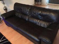 Real leather 3 seater sofa in black, great condition.