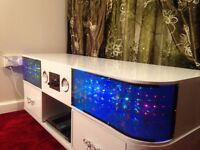 New TV stand Cabinet with Sound System built-in High Gloss finish and 3D LED, white