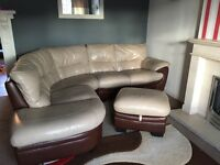 Cream & Brown Leather Settee With Matching Storage Footstool