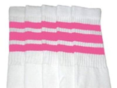 "25"" KNEE HIGH WHITE tube socks with BUBBLEGUM PINK stripes style 1 (25-1)"