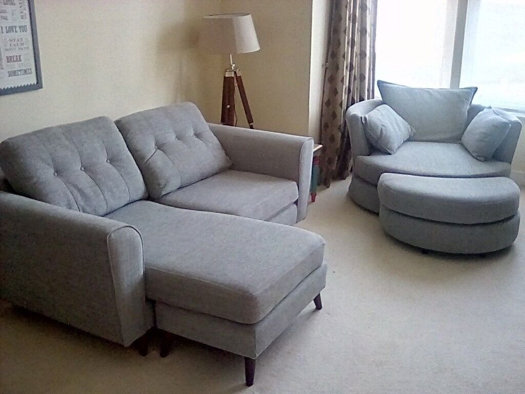 2016 Dfs 3 Seater Sofa And Large Swivel Cuddle Chair Fabric In Watford