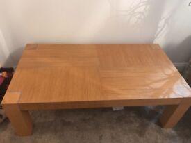 Solid oak effect coffee table