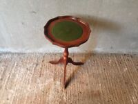 Round side table with green top