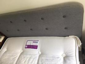 Double bed and mattress - stylish grey upholstered bed