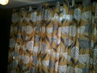 Curtains ringtop 90 x 90 and 3 mustard cushions ex condition