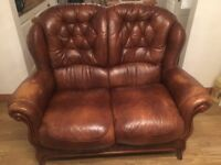 two seater tan leather sofa