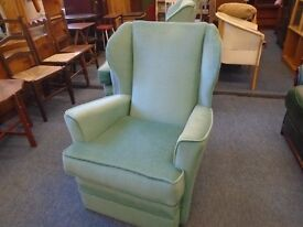 light green wing back arm chair. .