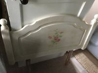 Hand painted shabby chic style single headboard solid wood.