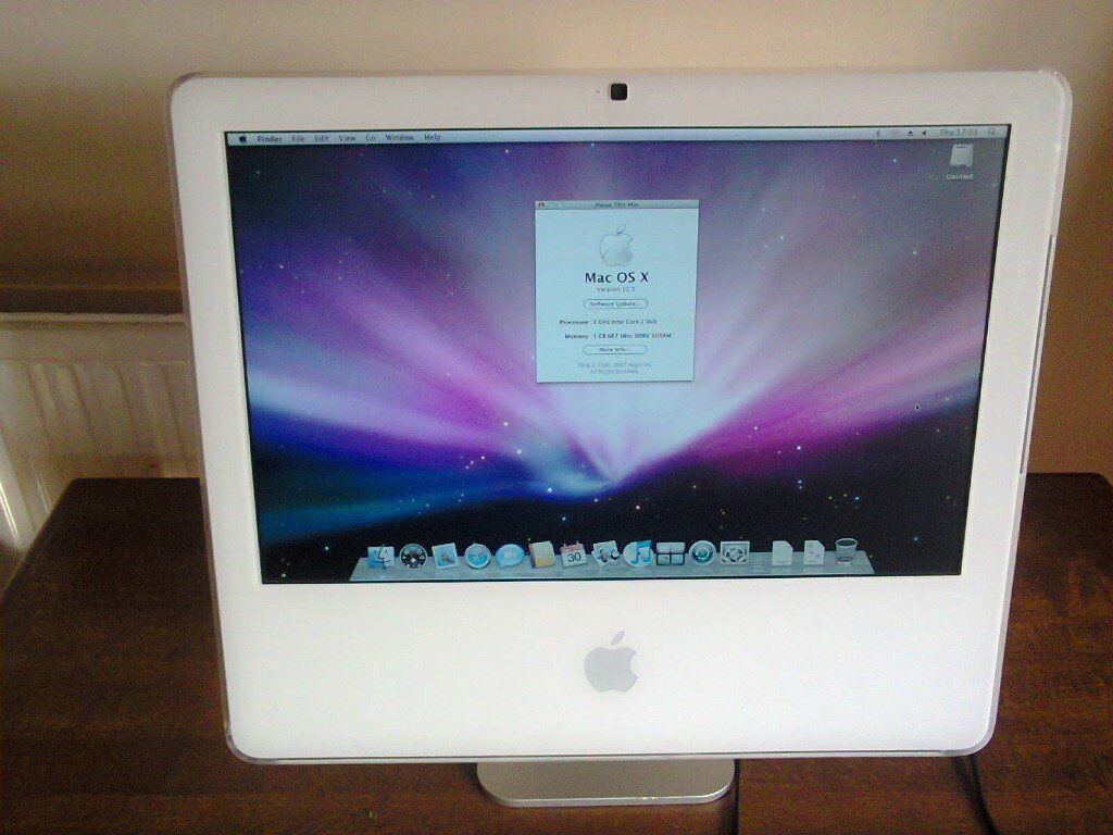 """IMAC 17SCREEN ALL IN ONE COMPUTERin Chatham, KentGumtree - IMAC 17"""" SCREEN ALL IN ONE COMPUTER IMAC 17"""" FLAT SCREEN COMPUTER 2.2 DUEL CORE 2.0 GHZ 1.5 GB MEMORY 160gb HARD DRIVE AIRPORT CARD INSTALLED RUNNING OSX 10.6 snow leopard NORMAL KEYBOARD AND MOUSE IN GOOD WORKING ORDER CALL FOR MORE DETAILS ON..."""