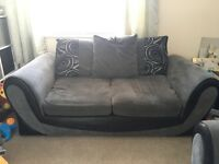 2 seater and 3 seater sofas black and grey