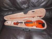 3/4 violin, bow, rosin and case. Immaculate condition.