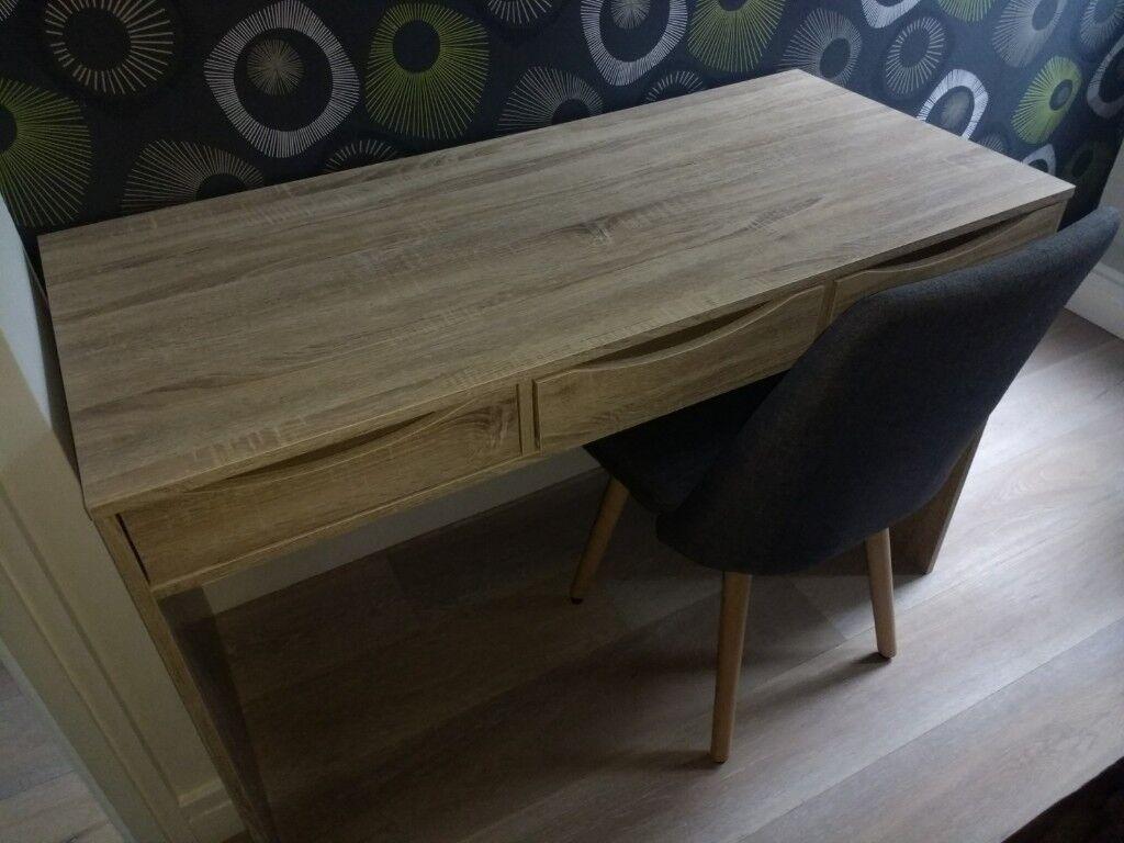 Design Pc Office Desk Table Sonoma Oak And Scandinavian Chair