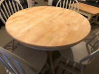 Shabby chic solid wood table and 4 chairs