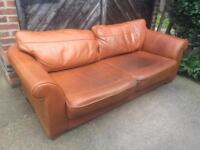 Brown leather sofa (delivery available)