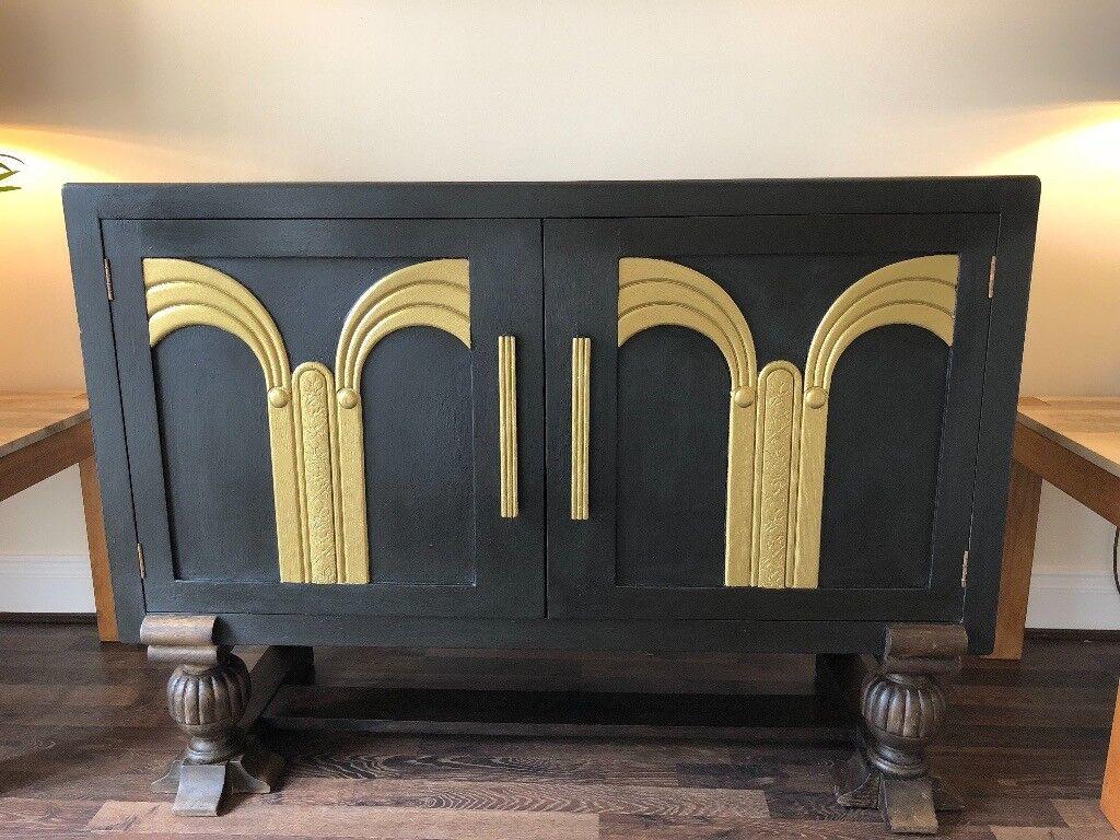 Oak Black And Gold Sideboard Art Deco Furniture In