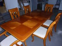 Beach Veneer Wood Dining Table, Extendable 160cm to 230cm, and 6 chairs with 2 carvers