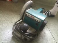 Wolf power drill plunger stand with drill and wolf belt sander