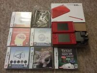 red nintendo ds lite boxed with 6 games pokemon pearl