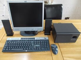 hp pavilion f1723 computer monitor, wireless keyboard and mouse also altec Lansing speakers and sub