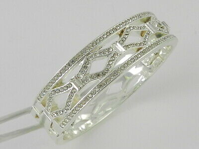 -  Anne Klein Silver-Tone Pavé Openwork Bangle Bracelet