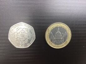 Collectible coins: 2 Pound St Paul's Cathedral with minting error, 50p Girl guiding - reduced!