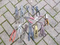 Job Lot of Pliers-Tin snips-wire cutters-ect