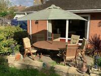 Garden Table, 6 Chairs and Parasol set