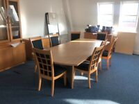 A large office conference table