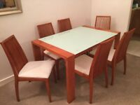 Dining set, Glass/metal/wood table, 6 chairs white padded seats, modern style