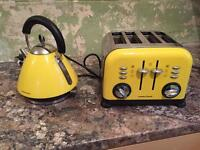 Yellow morphey Richards toaster and kettle